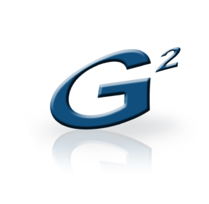 Stylized G2 Logo in blue with reflection